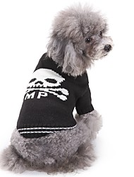 Cat Dog Sweater Dog Clothes Winter Skulls Fashion Casual/Daily Halloween Black and White Pet Clothing Cosplay Costume