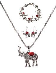 Ensemble de bijoux / Acrylique Alliage Animal Forme d'Animal Noir Rouge Vert Bleu Set Soirée Quotidien Décontracté 1set1 Collier 1 Paire