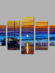 IARTS®Hand Painted Landscape Oil Painting The Beautiful Sunset at The Seaside and The Water Reflection Wall Art with Stretched Frame Set of 5