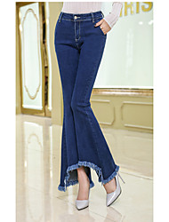 ssy nova fêmea magro calça jeans de cintura feminina franjas jeans stretch versão coreana do grande chifre calças de pernas largas