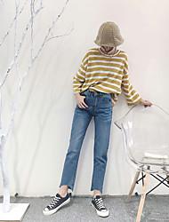 firmar elegante versión coreana retro era delgada cintura sueltos bordes rasgados irregulares amplia pantimedias jeans de pierna