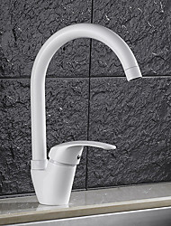 High Quality Brass Paint White Single Handle One Hole Rotatable Kitchen Sink Faucet