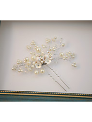 Pearl Crystal Alloy Headpiece-Wedding Special Occasion Outdoor Flowers Hair Stick 1 Piece
