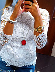 * White long-sleeved embroidered ladies lapel hollow T-shirt cloth