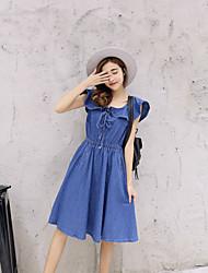 Un été tiré 2017 version coréenne de la nouvelle robe à manches courtes jupe denim dames taille de diamant était mince jupe