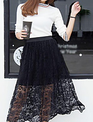 Women's Office & Career Casual School Wear Midi Skirts,Sexy Cute A Line Pure Color Solid Summer