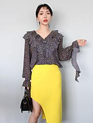 Le réseau de han comme printemps nouvelles filles floral chemise Flouncing