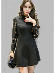 Sign in spring 2017 ladies hollow halter dress sexy long-sleeved lace stitching repair