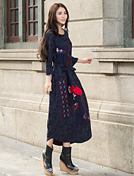 Sign ethnic style embroidery 2017 spring models hit the color stitching long section dress gown