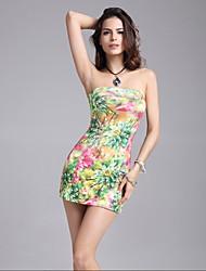 Women's Sexy Bodycon Dress Galaxy Slash Neck Mini Dress