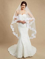 Hochzeitsschleier Einschichtig Gesichts Schleier Kapellen Schleier Kathedralen Schleier Spitzen-Saum Tüll Weiß Eifenbein