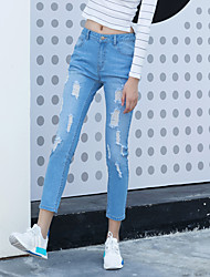Autumn and winter Korean version of the new cat whisker hole pantyhose Slim stretch jeans feet pencil pants