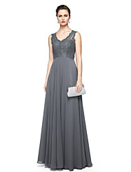 Formal Evening Dress - Elegant Sheath / Column V-neck Floor-length Chiffon Lace with Lace