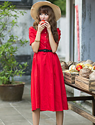 Cotton waist dress lady OL bubble sleeve dress in red coveralls Art