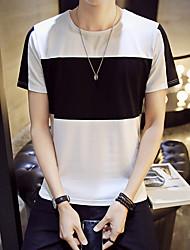Slim versão coreana dos grandes homens listrados&# 39; s de manga curta t-shirt norte