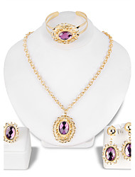 Lucky Doll Jewelry Set Fashion Classic Rhinestone Gold Plated Glass Alloy Jewelry 1 Necklace 1 Pair of Earrings 1 Bracelet 1 Ring ForWedding Party