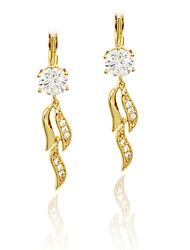 Mulheres Para Meninas Brincos Compridos Imitação de Diamante Original Coração Moda Personalizado Hipoalergênico Euramerican Zircão Rosa