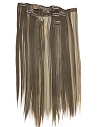 Clip In Light Brown With Blonde Highlights Synthetic 20 Hair Extensions 5 Pieces /Set Hair Extension