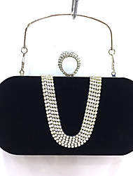 Women Poly urethane Formal / Event/Party / Wedding Evening Bag/Velvet Clutch/Purse/Party/Diner/Black/Red/Blue/Can Put Plus6
