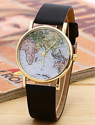 Unisex Fashion Watch Quartz Leather Band Casual World Map Black White Brown
