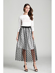 Spring 2017 original high-end real shot Polka Dot Slim split skirts high waist put on a large tutu