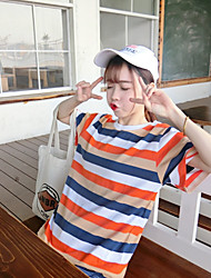 Really making fresh new chic cute little rainbow-colored cotton striped short-sleeved T-shirt shirt female students