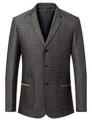 Men's Casual/Daily Work Vintage Simple Spring Fall BlazerColor Block V Neck Long Sleeve Regular Nylon Wool 916611