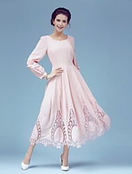 6133 # elegant simplicity waves at the beach dawn swing soluble lace embroidered long-sleeved dress