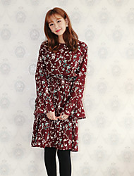 NEW ITEMS Korea Institute of wind flounced waist was thin small floral dress