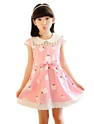 Girl's Beach Solid Floral Dress,Cotton Summer Sleeveless