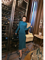 Sign a star-studded party focus aristocratic temperament long-sleeved dress waist bronzing