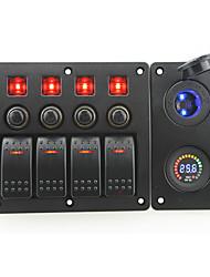 rouge iztoss conduit DC24V 4 bande interrupteur marche-arrêt panneau incurvé bascule et coupe-circuit avec des étiquettes autocollantes et
