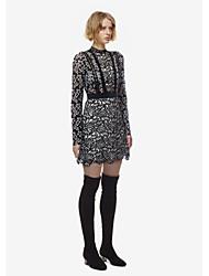 Auto-retrato inverno novo vestido de mangas compridas costura complexo gulei si