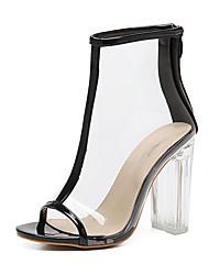Feminino-Sandálias-Shoe transparente-Salto Grosso-Preto Amêndoa-Borracha-Social