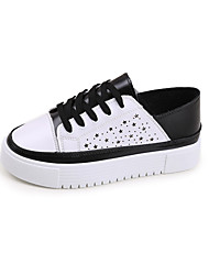 Women's Sneakers Summer Mary Jane Leatherette Outdoor Athletic Casual Flat Heel Hook & Loop Lace-up Walking