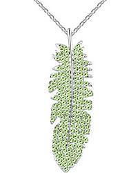 Women's Pendant Necklaces Crystal Leaf Chrome Unique Design Dark Blue Rainbow Blushing Pink Light Blue Light Green Jewelry ForWedding