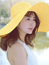 Women 's Summer Big Bow Ribbon Bowknot  Beach Holiday Sunscreen Pure Color Straw Hat