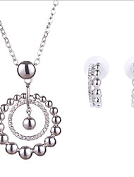 Women Wedding Bridal Hollow Circle Silver Round Beads Pendant Necklace Earring Set Clavicle Chain Valentine's Day Present