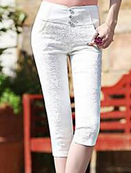 Feminino Simples Cintura Alta Com Elástico Chinos Calças,Skinny Cor Única,Rendas