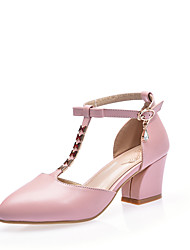 Damen High Heels Pumps PU Sommer Kleid Party & Festivität Pumps Kristall Blockabsatz Weiß Schwarz Rosa 2,5 - 4,5 cm