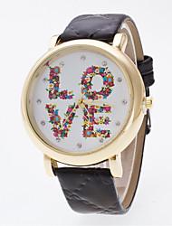 Women's The New Bright Golden Watch Case Flowers LOVE Diamond Dial Face Geneva Quartz Watch