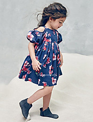 Girl's Casual/Daily Beach School Floral Print Dress Cotton Summer Short Sleeve Strapless Dresses Summer Kids Girl Clothes