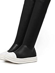 Damen-Sneaker-Lässig-Schweineleder-Flacher Absatz-Leuchtende Sohlen-Schwarz