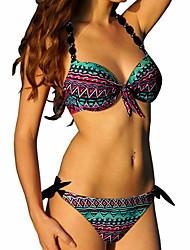 Women's Boho  Houndstooth Push Up Lace Up Halter Bikini Swimwear(S-2XL)