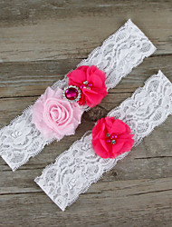 2pcs/set Pink And Rose Satin Lace Chiffon Beading Wedding Garter