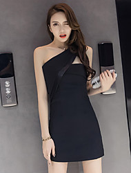 Really making 2017 summer new sexy halter dress Slim was thin black dress oblique