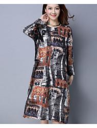 Mujer Camiseta Vestido Casual/DiarioEstampado Escote Redondo Midi Manga Larga Lino Primavera Tiro Medio Microelástico Medio