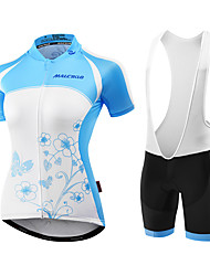 Malciklo Cycling Jersey with Shorts Women's Short Sleeves Bike Jersey Padded Shorts/Chamois Bib Tights Clothing Suits Anatomic Design