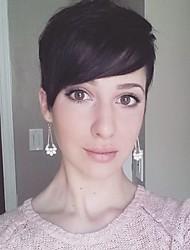 Perruque de cheveux humain résistant à la chaleur chic perruque de capuchon capless noir stratifié court pour les femmes 2017