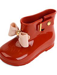 Girls' Boots Summer Slingback PU Outdoor Casual Flat Heel Low Heel Chunky Heel Black Red